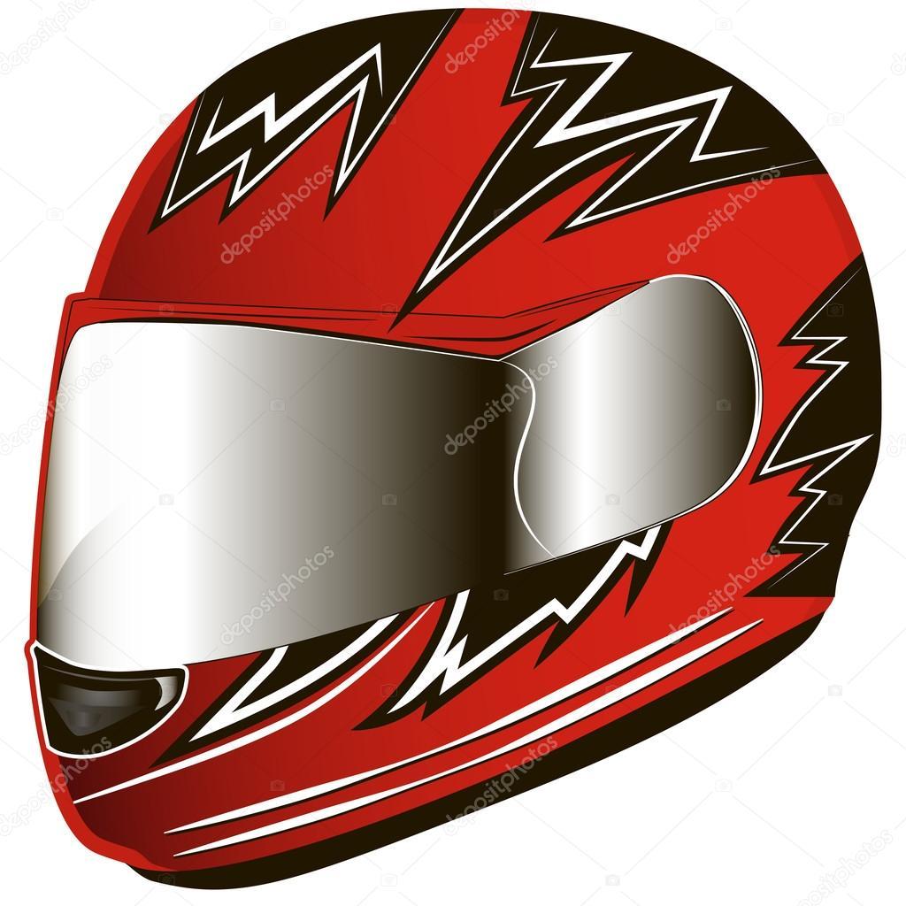 赤いオートバイのヘルメット赤いヘルメット バイク ストックベクター