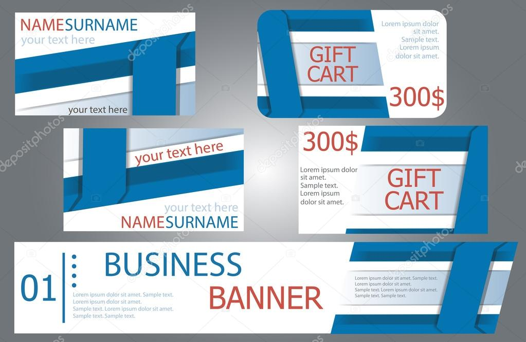 Templates banner design, gift cards, business cards. Set. — Stock ...