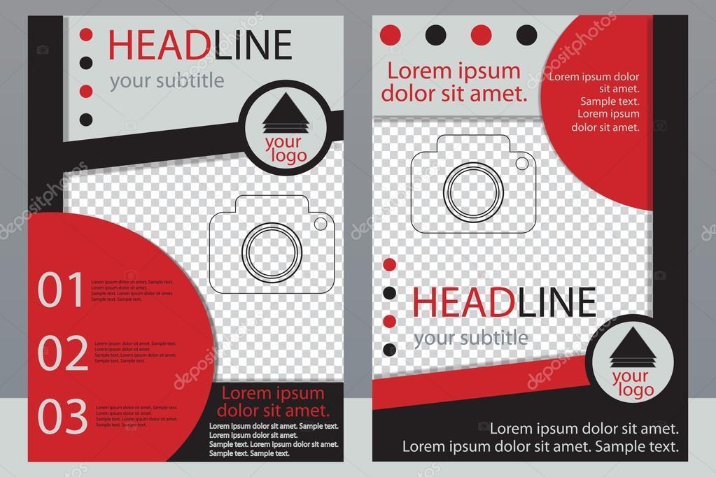 Template-Design von Broschüren mit Platz für Ihr Foto. Eine Probe ...