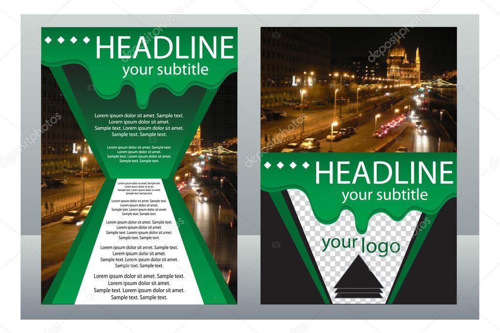 Vorlage-Gestaltung-Broschüren mit Blick auf die Stadt bei Nacht ...