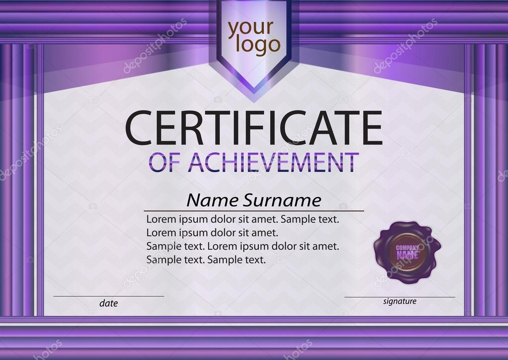 purple certificate or diploma template with wax seal purple frame the text on separate