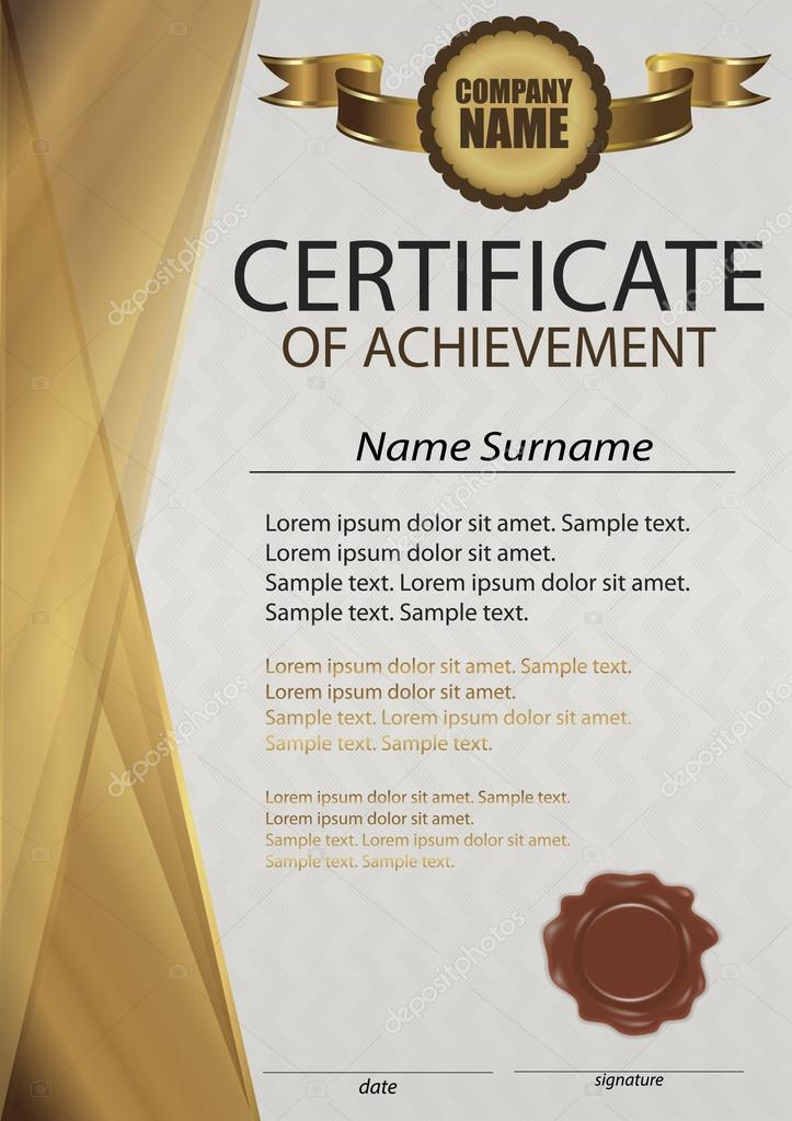 golden certificate or diploma template with wax seal gold vertical