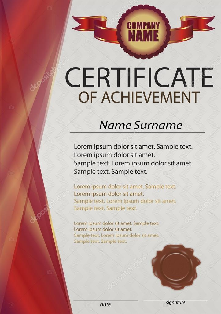 red certificate or diploma template with wax seal red vertical