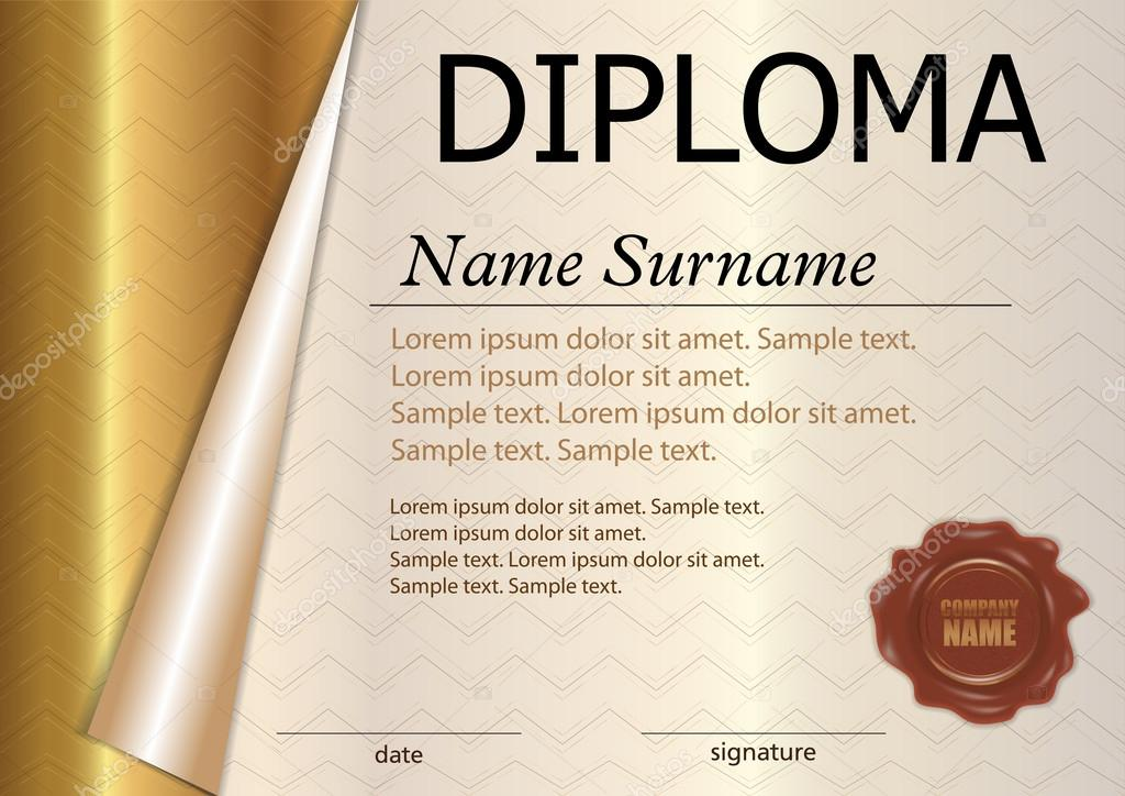 Horizontal Diploma Or Certificate Template With Wax Seal Gold