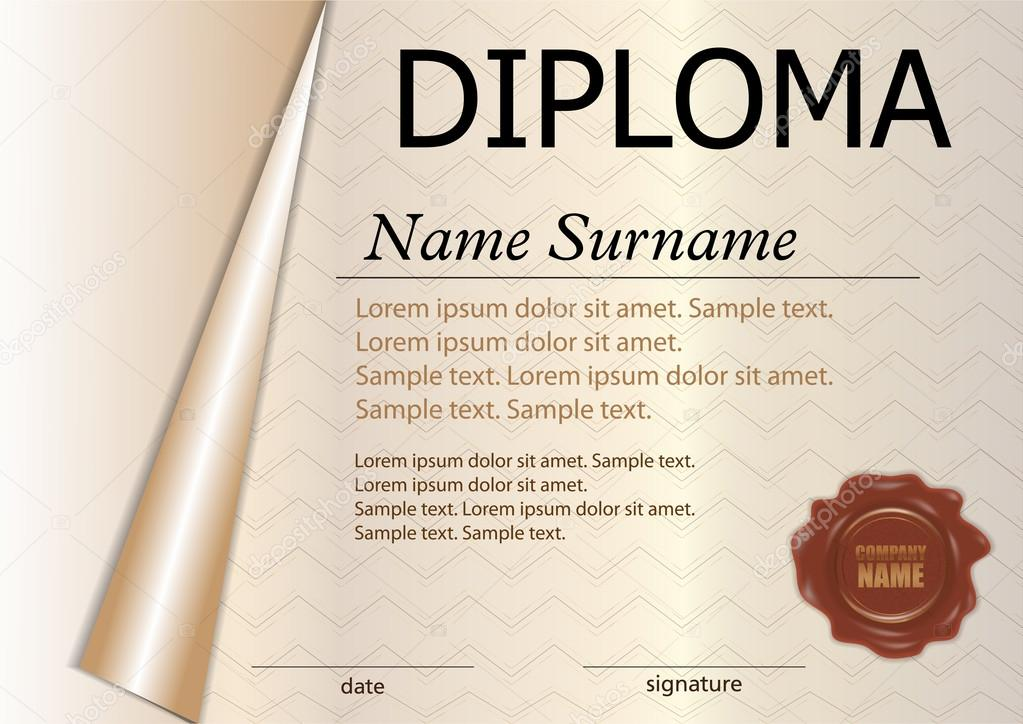 Horizontal diploma or certificate template with wax seal curled horizontal diploma or certificate template with wax seal curled paper reward winning the competition award winner the text on separate layers yadclub Choice Image