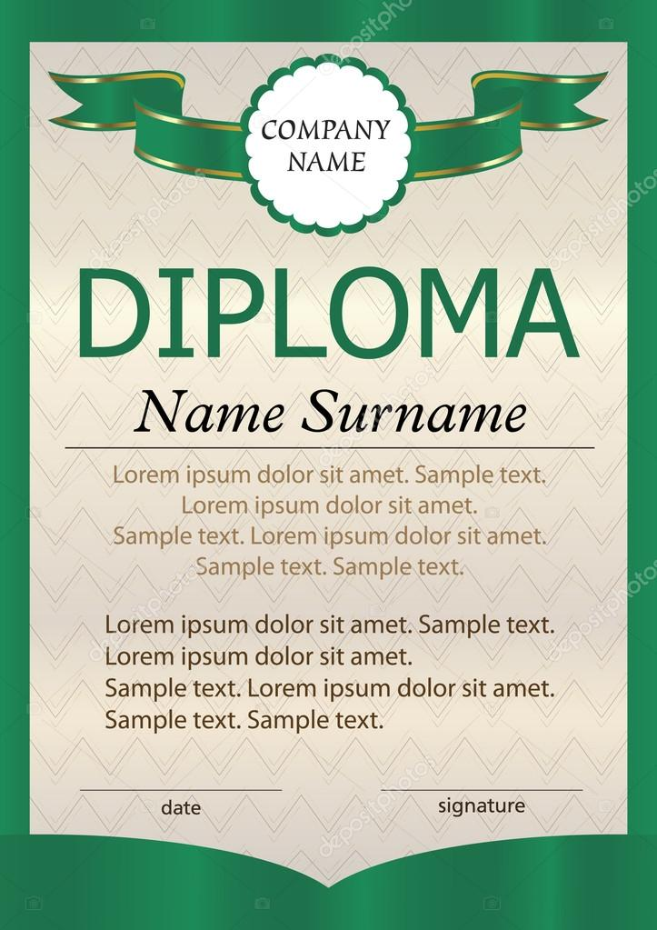 Green Diploma Or Certificate Or Vertical Template The Text On