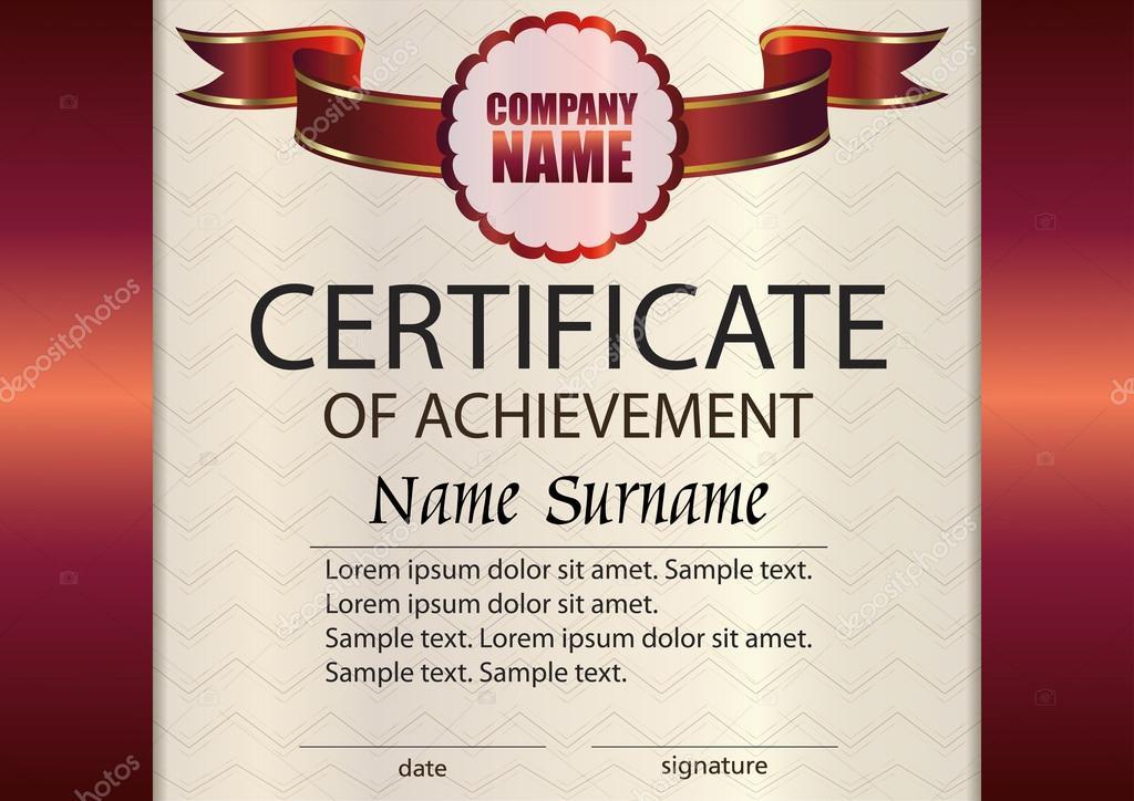 Certificado de vector de plantilla de logro. Ganador del premio ...