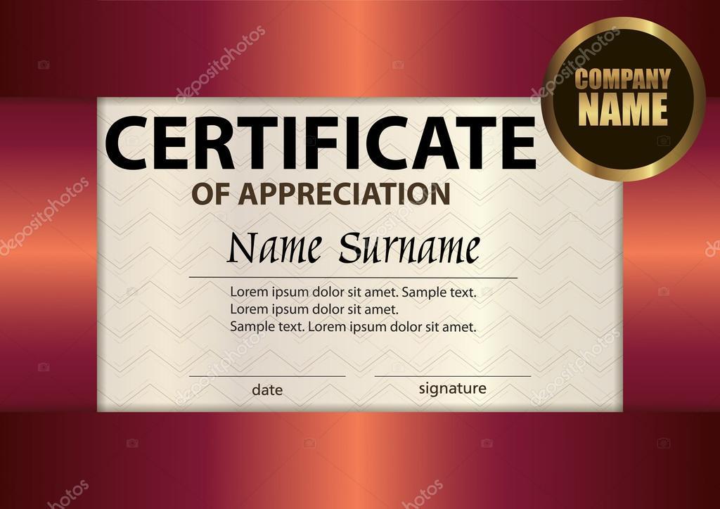 Vector Certificate Of Appreciation Template Award Winner Stock