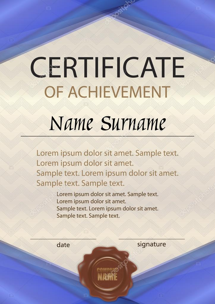 Vector certificate of achievement or diploma with wax seal vector certificate of achievement or diploma with wax seal template green vertical reward yelopaper Images