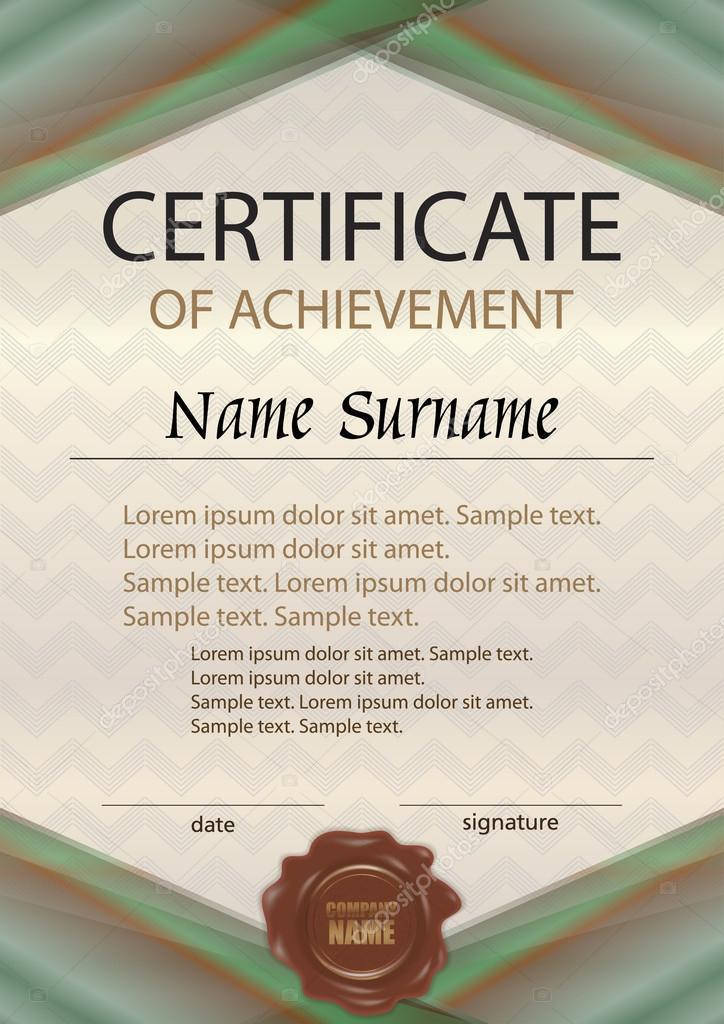 Certificado de vector de logro o diploma con sello de cera ...