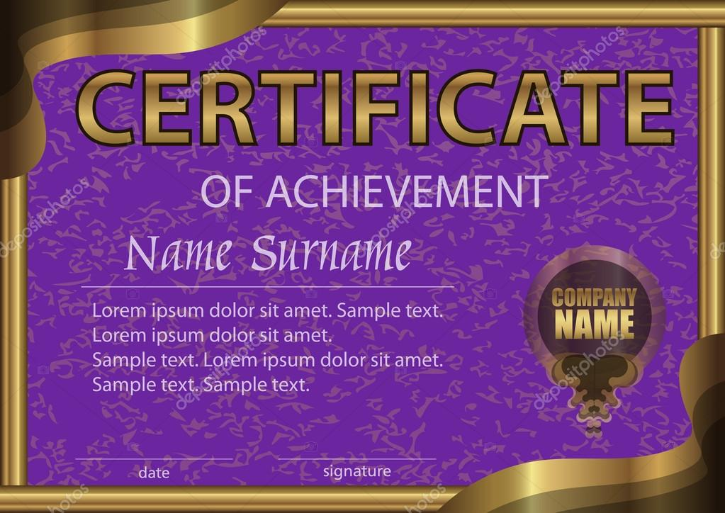 certificate of achievement horizontal template purple paper in a gold frame winning the competition reward award winner the text on separate layer
