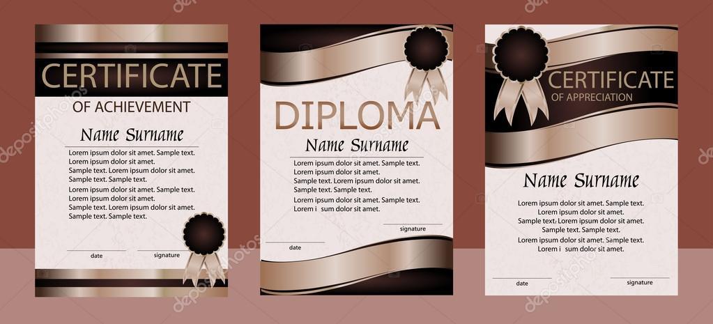 Diploma, certificado de logro, reconocimiento, plantilla vertical ...