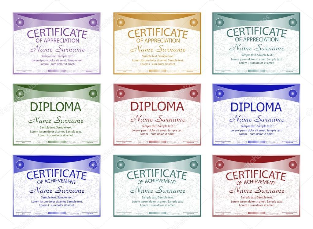 Diploma Certificate Of Appreciation Achievement Set Horizontal