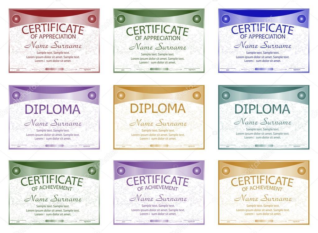Set Diploma Certificate Of Appreciation Achievement Horizontal