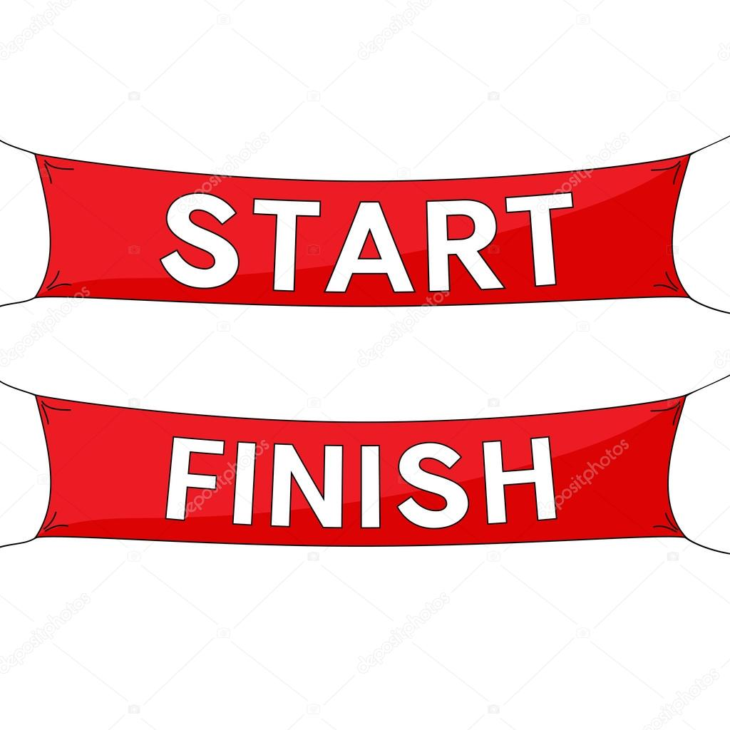 start and finish lines red banners stock vector