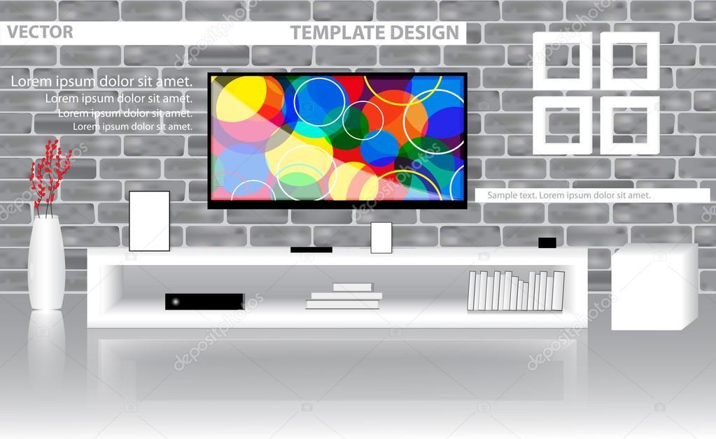 Modello di progettazione soggiorno moderno con Tv su un muro di ...