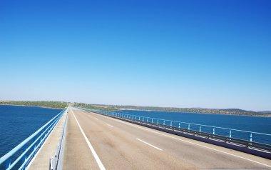 road of bridge in Alqueva lake , alentejo, Portugal