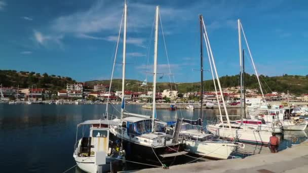Yachts in harbour in Nea Skioni village