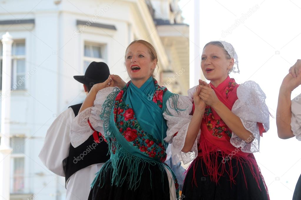 Members of folk groups Veseli Medimurci from Croatia during the 48th International Folklore Festival in Zagreb