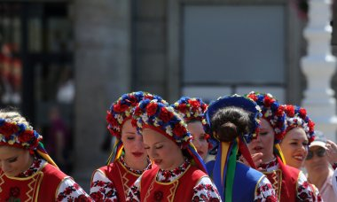 Members of folk group Edmonton (Alberta), Ukrainian dancers Viter from Canada during the 48th International Folklore Festival in Zagreb