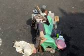 KOLKATA, INDIA - FEBRUARY, 10, 2014: Beggars in front of Nirmal, Hriday, Home for the Sick and Dying Destitutes in Kolkata