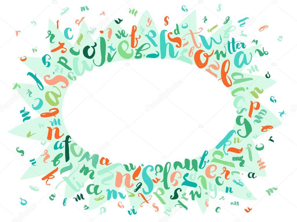 Random colored letters frame on white — Stock Vector © redbug #86638706