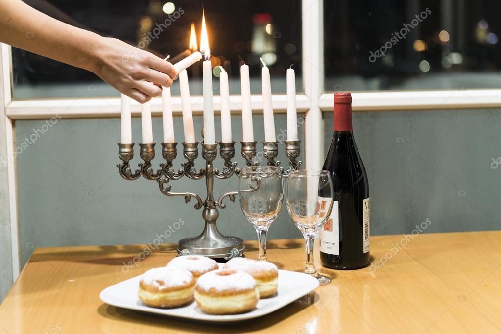 hanukkah viering kenmerken judasche vakantie van lichten foto van nosorojik