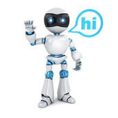 Moderní robot a znamení Ahoj