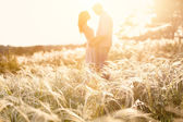 loving couple kissing at sunset, focus on foreground
