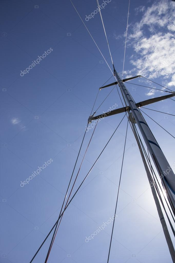 nautical part of a yacht with cords, rigging, sail, mast, anchor
