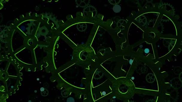 Abstraktní video ilustrační počítač vykreslovat se zelenými rotujícími rychlostmi symbolizující život, podnikání, měnící se svět