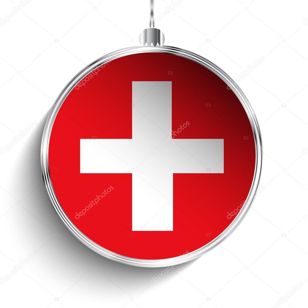 Frohe Weihnachten Schweiz.Frohe Weihnachten Ball Mit Fahne Schweiz Stockvektor Gubh83