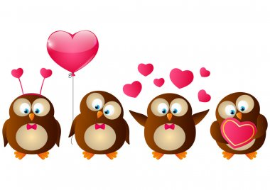Valentines day owls with pink hearts on white background clip art vector
