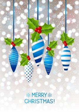 Greeting card with Christmas balls