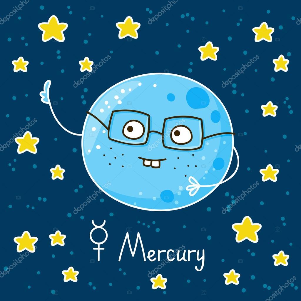 Simpatico cartone animato mercurio sullo spazio
