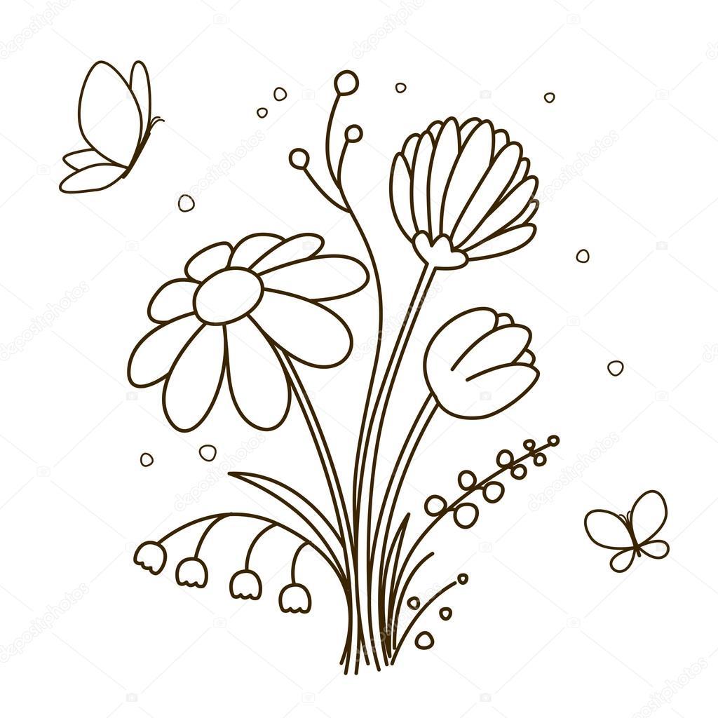 Ramo De Flores Para Colorear Libro Archivo Imágenes Vectoriales