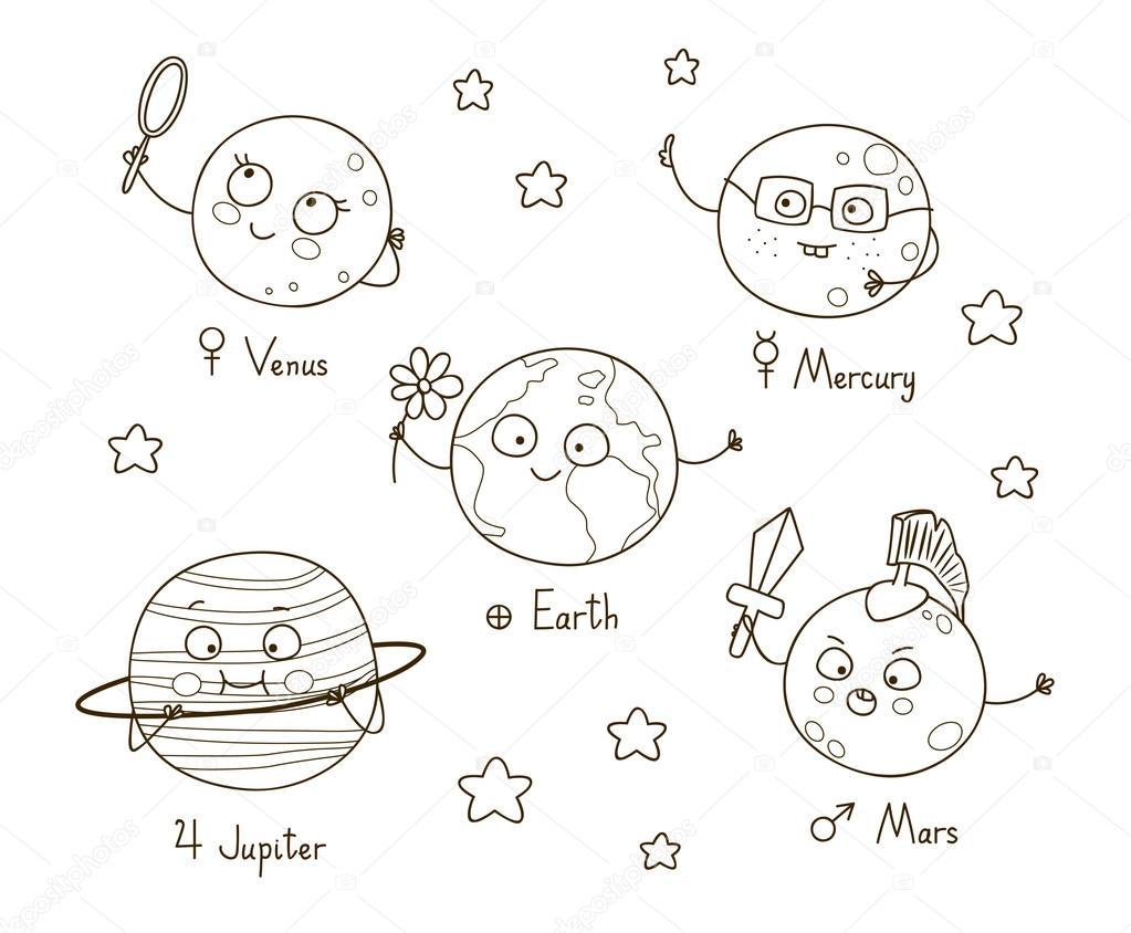 Sevimli çizgi Gezegenler Stok Vektör Huhli13 99381326