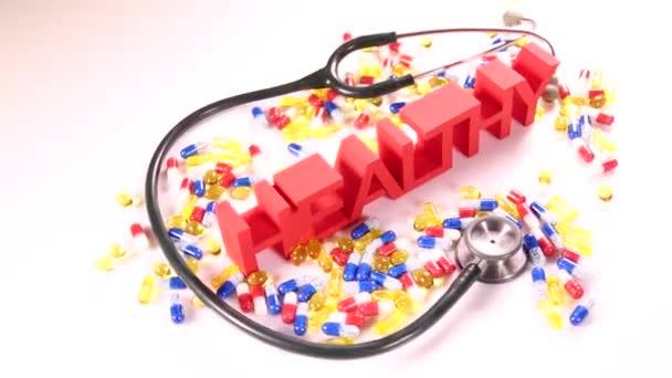 Pojetí zdravotní stetoskop a prášky
