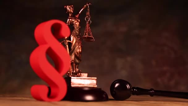 Scales of justice, gavel and paragraph sign