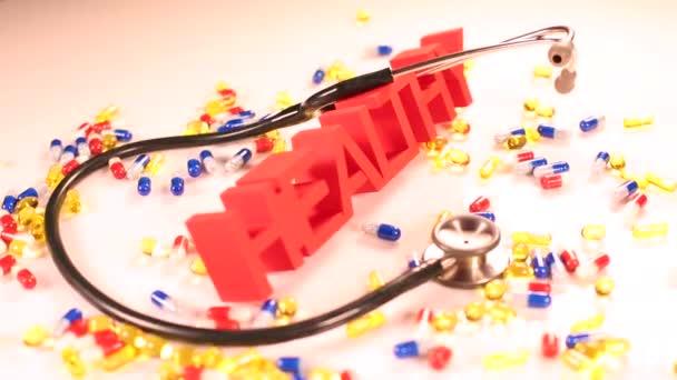 Značka zdravotní stetoskop a prášky