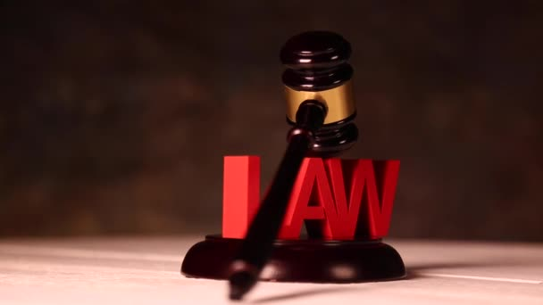 Mallet of judge with Law sign