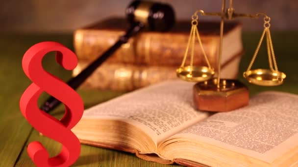 Legal code and scales of justice