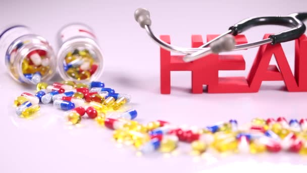 Composition of drug pills,  Health concept