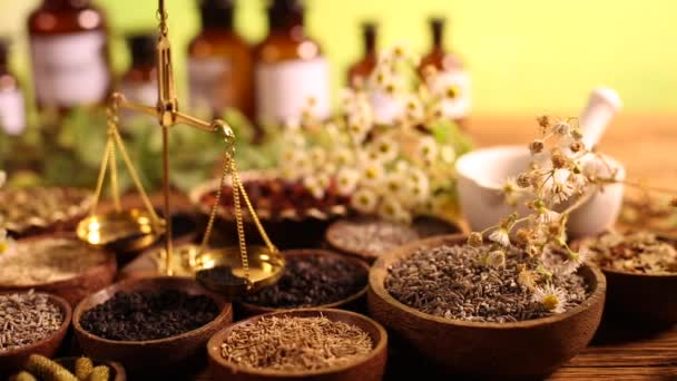 Medicinal herbs with vintage scale