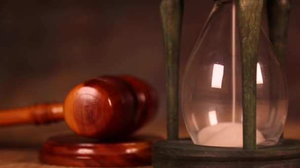 Hourglass with wooden gavel