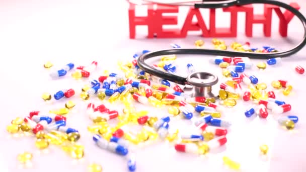 Healthy sign with stethoscope and pills