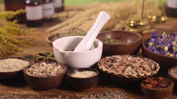 Medical herbs and mortar