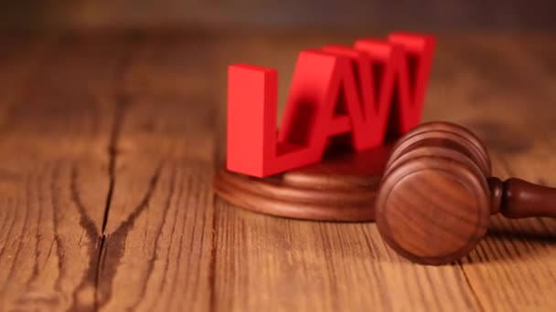 Wooden gavel with Law sign