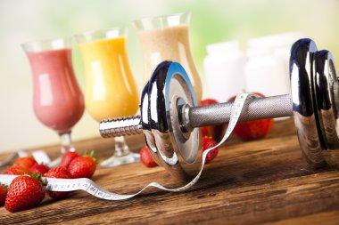 Healthy diet, protein shakes