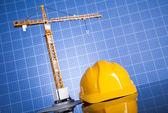 Fotografie Výkresy projektu, budování a jeřábů ve výstavbě